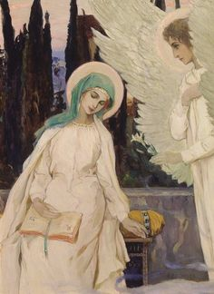 "And Mary said, Behold the handmaid of the Lord; be it unto me according to thy word.   Mikhail Nesterov ""Lady Day"""