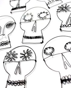 3 Wire Sugar Skulls Day of the Dead wire art by RawBoneStudio