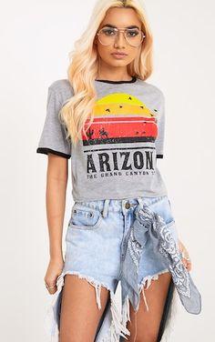 Arizona Printed Grey Marl Contrast Jersey Crop top