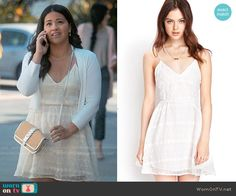 Jane's off-white embroidered dress on Jane the Virgin.  Outfit Details: https://wornontv.net/57494/ #JanetheVirgin