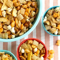 Sweet & Salty Crunchy Munch   Your family won't know what they did to deserve their good fortune with this kid-favorite treat, a sweet and salty hodgepodge of snack favorites. Think Chex cereal, popcorn, Goldfish crackers, and bagel chips, drizzled with a melted butter and maple syrup glaze.