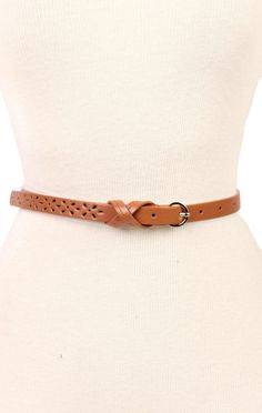 Deb Shops skinny #belt with perforated detail