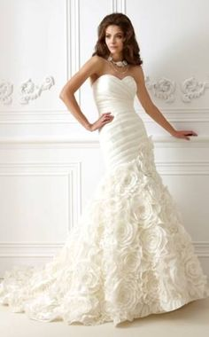 161 Wedding Dress Taffeta Mermaid Flowers Bridal Gown The