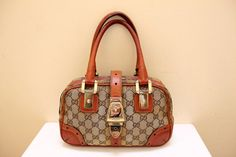 81cf3436dc732 Vintage Gucci Hand Bag    GG Canvas Fabric with by grassdoll Leather Label