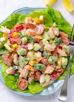 Shrimp Avocado Tomato Salad with cucumbers, bell peppers and tasty, healthy and simple Greek Yogurt Dressing without mayo. | ifoodreal.com