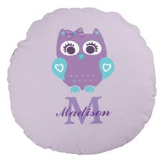 Purple Teal Girl Owl Pillow with Name