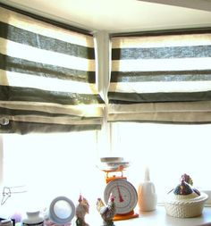 striped fabric blinds.
