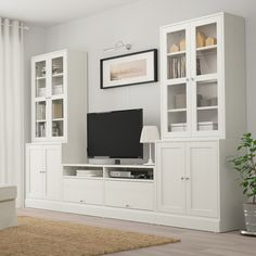 HAVSTA TV storage combination/glass doors - white - IKEA If instead of the right unit you continued the lower cabinets Living Room Built Ins, Living Room Tv, Ikea Living Room Storage, Living Room Cabinets, Tv Wall Ideas Living Room, Ikea Hemnes Living Room, Apartment Living, Dining Room, Glass Cabinet Doors