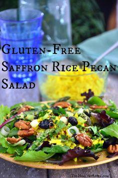 Gluten-Free Saffron Rice Pecan Salad TheHealthyApple.com #glutenfree #recipe #healthy