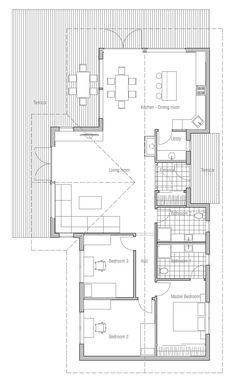 Small House Plan CH128 with nice interior and vaulted ceiling, small home design House Plan