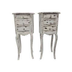 Pre-Owned Paris Apartment Petite Nightstands Pair ($799) ❤ liked on Polyvore featuring home, furniture, storage & shelves, nightstands, white, round nightstand, parisian furniture, white bedside table, white nightstand and round bedside table