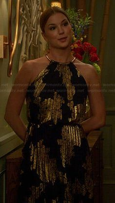 Emily's black and gold pleated halter neck gown on Revenge.  Outfit Details: http://wornontv.net/41626/ #Revenge