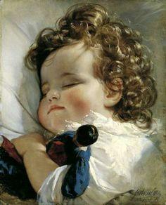 Girl asleep with doll (by Friedrichmon Amerling)