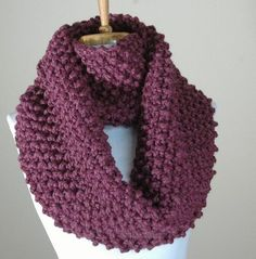 free knitting pattern for chunky infinity scarves | Chunky Hand Knit Infinity Scarf in Purple Fig Textured Pattern Origina ...