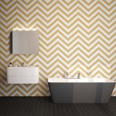 Geometrisen sahakuvioinen seinä on kylpyhuoneen katseenvangitsija. Mosaiikki: LPC Geometrie  │ Laattapiste Bathtub, Curtains, Shower, Retro, Bathroom, Prints, House, Midget Man, Geometry