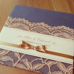 Signature Hardcover Decor with French Lace and Antique Gold Ribbon. Been a while, still love it every time I see it. www.miidear.com Invites, Wedding Invitations, Gold Ribbons, French Lace, Antique Gold, Antiques, Decor, Party, Ideas