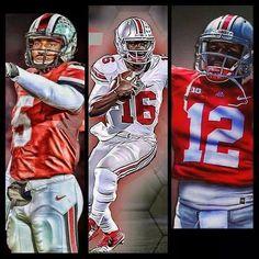 "Our (3) 2014 football season quarterbacks!! #5 Braxton Miller, #16 JT Barrett and #12 Cardale Jones ""Go Bucks"" OH.."