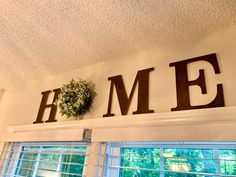 HOME Sign with Wreath Farmhouse Themed. Dark Walnut Stained | Etsy