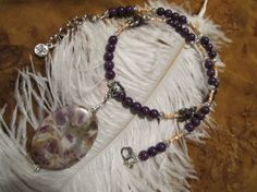 Amethyst Pendant and Mountain Jade Necklace for sale at wolfmoondesigns