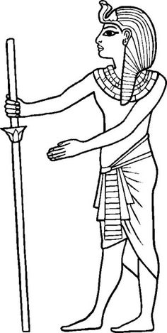 (More Ancient Egypt Coloring Pages at this link) King Tutankhamun Of Ancient Egypt And His Walking Sticks Coloring Page: King Tutankhamun of Ancient Egypt and His Walking Sticks Coloring Page