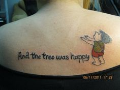 """The Giving Tree"" inspired tattoo; http://harpercollinschildrens.tumblr.com/post/77104177547/20-beautiful-the-giving-tree-tattoos"