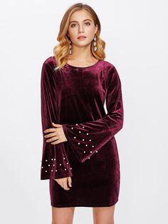 Pearl Beaded Fluted Sleeve Velvet Dress -SheIn(Sheinside)