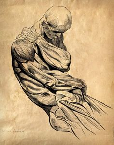 Vintage Anatomy Male Muscle Sketch - Jacques Gamelin (October 3, 1738 – October 12, 1803); Carcassonne, France