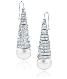 Diamond and Pearl Earring   Cellini Jewelers