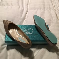 NWB, Betsey Johnson Gold Sparkle Shoes!  Blue by Betsey Johnson, brand new never worn, the box they come in is awesome! Great for Christmas party. Gold sparkle flats! Authentic, champagne fab style Betsey Johnson Shoes Flats & Loafers