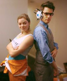 Chell and Wheatley costume fitting from the Portal musical I'm in! I'm so stoked on these!! The Wheatley headpiece lights up. r/portal really liked this so I thought you might.