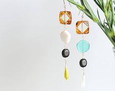 Glass bead earrings by Milanka Design Bead Earrings, Jewelry Collection, Glass Beads, Etsy Seller, Jewelry Design, Boho, Create, Vintage, Pearl Earrings