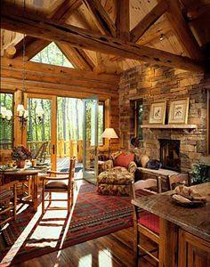 Beautiful Log home Living Room. #log home living #Barn wood Flooring