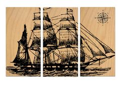 Vintage Pirate Ship SAILBOAT - Screen Print - Wood Painting - Wall Art Hanging - on Stained Solid BIRCH 3/4 inch thick See it on Etsy https://www.etsy.com/listing/174251561/vintage-pirate-ship-sailboat-screen