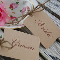 Kraft card placecards for wedding dinner by sallycinnamonsigns, £6.99
