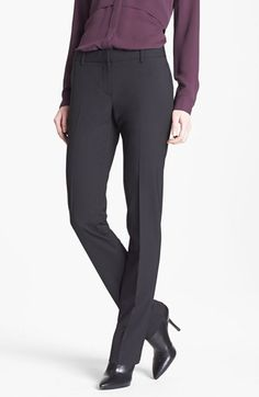 Theory 'Nabuki' Stretch Wool Straight Leg Pants available at #Nordstrom