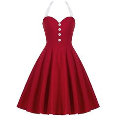 Halter Backless Mini Pin Up Dress ($23) ❤ liked on Polyvore featuring dresses, mini dress, red cocktail dress, red halter top, red pinup dress and backless cocktail dresses