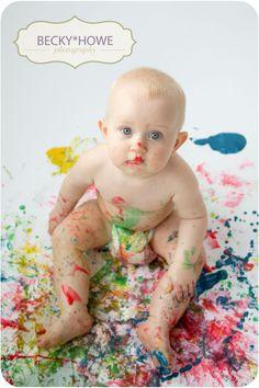 Baby Painting... 1st photo shoot idea for Hamish!