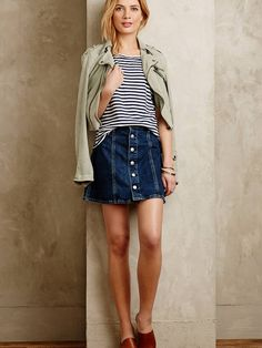 Alexa Chung for AG Button-Front Denim Skirt worn with a striped t-shirt