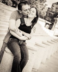 guy kissing girl in front of steps to capital - warm toned black and white - Tavia Larson Photography, Harrisburg, PA