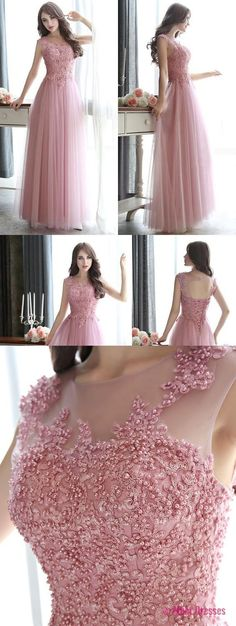 Open Back Pearl Beaded Prom Dresses, All Over Beaded Pink Prom Dress, Modest Illusion Long Prom Dresses with Lace Appliques PD20189920