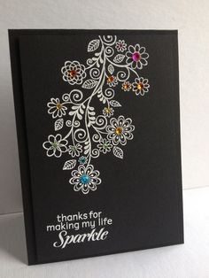 Am loving this stamp in white on black with gems! I'm in Haven: One Stamp Five Cards