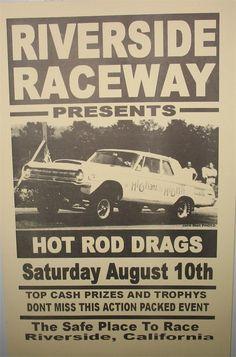 Reproduction Drag Race Event Poster-Riverside Raceway