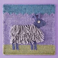 Knitterati Afghan Block 27 by Amy Bahrt using Cascade Yarns® 220 Superwash®. This adorably graphic square features a hairy goat complete with I-cord horns.