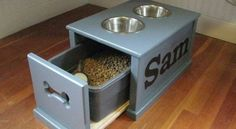 Dog Bowl Feeding Station- For medium to large size dogs. I like this idea. And if you have more than one dog, put his or her name on the other side of the feeding station! Repurposed Furniture, Diy Furniture, Furniture Projects, Furniture Stores, Furniture Websites, Furniture Outlet, Luxury Furniture, Antique Furniture, Office Furniture