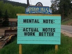 For some of the most hilarious of puns, you will want to visit the Indian Hills Community Center in Indian Hills, Colorado. Funny Sign Fails, Funny Puns, Funny Stuff, Funny Humour, Funny Quotes, 9gag Funny, Memes Humor, Funny Things, Funny Road Signs