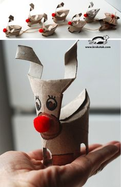 DIY CRAFT **Toilet paper rolls** Prancer the dancing christmas toilet roll reindeer.