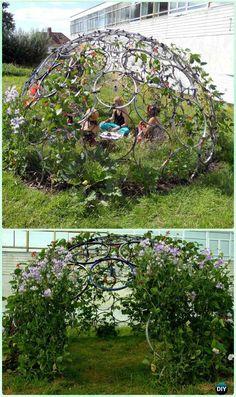 DIY Bike Wheel Plant Dome Playhouse - DIY Ways to Recycle Bike Rims DIY Ways to Recycle Bike Rims Ideas & Instructions: Re-purpose Bike Wheels and Rims into Home and Garden Decoration, Wreath, Garden Art, Trellis, Chandelier Diy Garden Furniture, Furniture Market, Furniture Stores, Cheap Furniture, Build A Playhouse, Recycled Garden, Recycled House, Recycled Yard Art, Ways To Recycle