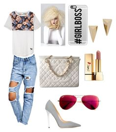 """BOSS SHITT"" by qveeeeenn on Polyvore featuring Boohoo, Jimmy Choo, Casetify, Yves Saint Laurent, Alexis Bittar, Ray-Ban, Chanel, women's clothing, women and female"