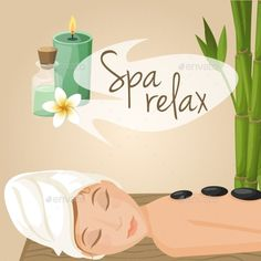 Illustration of Beautiful woman laying spa relax massage procedure vector illustration vector art, clipart and stock vectors. Massage Logo, Face Massage, Spa Massage, Spa Facial, Cupping Therapy, Massage Therapy, Spas, Massage Images, Spa Images