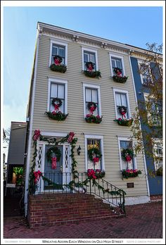 Holiday wreaths and flower box decorations adorn each of the windows on a c1885 High Street house in the Annapolis Historic District. Photograph published on December 15th 2016. To view an enlarged version of the associated Annapolis Experience Blog post photographs, along with the post itself, click on the Visit button. Images and article Copyright © 2016 G J Gibson Photography LLC and G Gibson Photo Art.